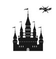 black silhouette of a medieval castle vector image vector image
