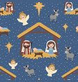 blue christmas nativity scene seamless vector image