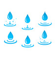blue water drops set and splash vector image vector image
