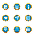 business scope icons set flat style vector image vector image