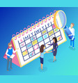 calendar and teamwork for digital marketing vector image vector image