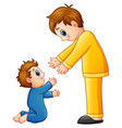 cartoon dad holding his son hands vector image vector image