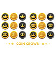 cartoon gold and black coins with emblem crown vector image