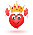 cartoon smiling heart holds a crown above his head vector image