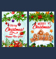 christmas cookie and new year garland card design vector image vector image