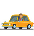 cute male driving a small car vector image
