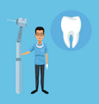dentist and dental care cartoons vector image