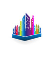 downtown city buildings multi-colored vector image vector image