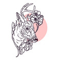 drawing deer with magnolia and apple blossom vector image vector image