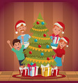 family christmas cartoon vector image