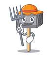 farmer character of metallic meat tenderizer vector image vector image