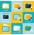 Folder Icons Set Favorites Settings Music Ideas vector image