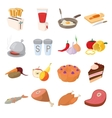 Food icons set cartoon style