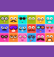 funny colorful square faces se with different vector image vector image