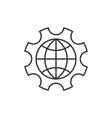 globe inside gear vector image vector image
