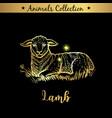 golden and royal hand drawn emblem of farm lamb vector image vector image