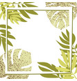 green tropical leaves with frame vector image vector image