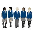 Group of walking students vector image vector image