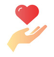 heart in hand flat icon love in arm color icons vector image