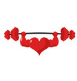 heart strong love powerful sport barbell kiss vector image vector image