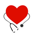 heart with a stethoscope icon on white background vector image vector image