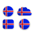 Iceland flag labels vector image