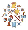 knight medieval icons set cartoon style vector image