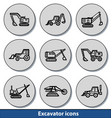 light excavator icons vector image vector image