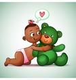 Little Indian girl hugging teddy bear green She vector image vector image