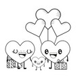 love heart couple cartoon vector image