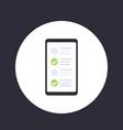 online survey form in smartphone icon vector image vector image