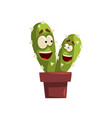 pair of smiling cactuses characters in a clay pot vector image vector image