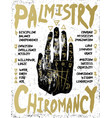 palmistry chiromancy - black hand on a white vector image vector image