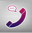 phone with speech bubble sign purple vector image vector image