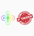 rainbow colored pixelated air copter icon vector image vector image