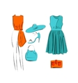 set of fashionable clothes icon isolated vector image