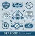 set seafood restaurant logo banner design vector image