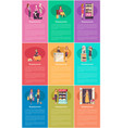 shopping woman changing room and lady set vector image vector image