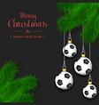 soccer balls on a christmas tree branch vector image vector image