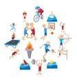 summer sport cartoon icons set vector image vector image
