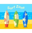 surfboards on beach vector image