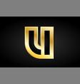u gold golden letter logo icon design vector image