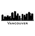 Vancouver City skyline black and white silhouette vector image vector image