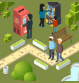 vending machines urban park breakfast area vector image vector image