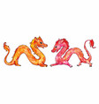 watercolor chinese red and yellow dragons vector image