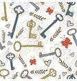 Stylish seamless pattern with vintage keys vector image