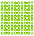 100 business woman icons set green circle vector image vector image