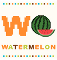 alphabet for children letter w and a watermelon vector image vector image