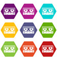 audio cassette tape icon set color hexahedron vector image vector image
