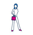 beauty woman standing character in blue and vector image vector image